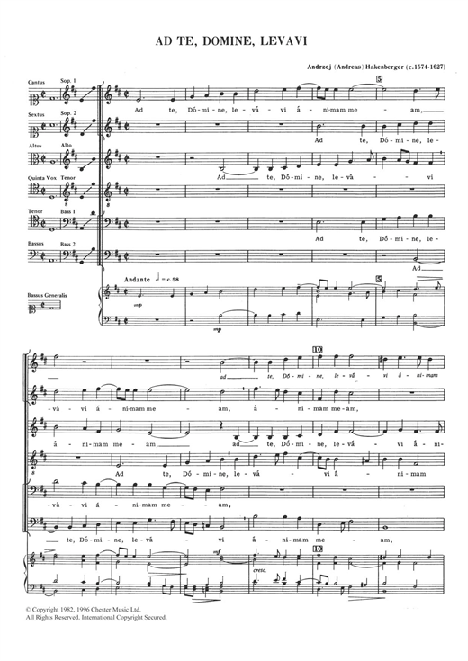 Andreas Hakenberger Ad Te, Domine, Levavi sheet music notes and chords