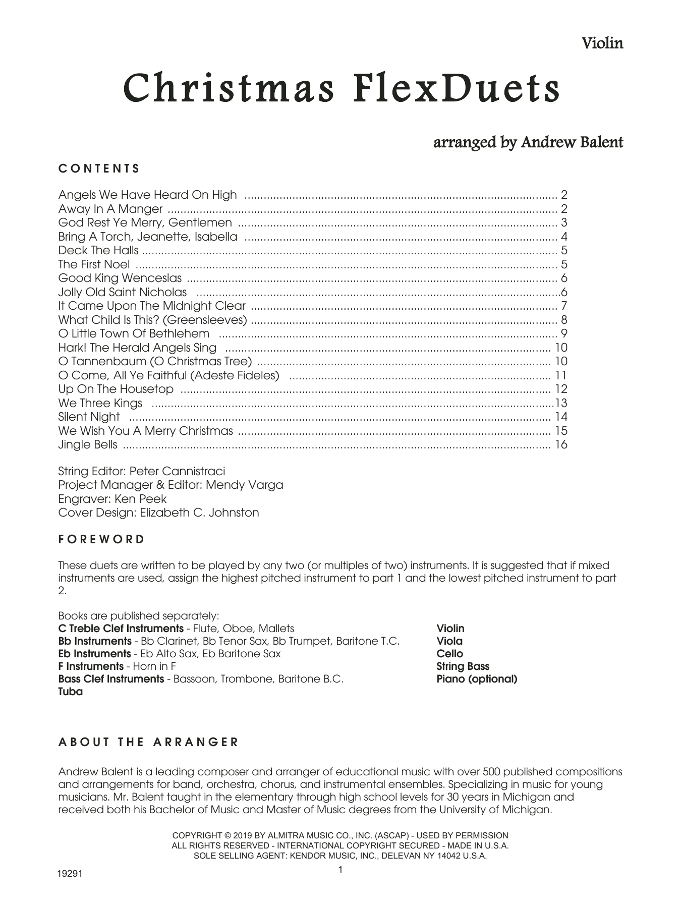 Andrew Balent Christmas Flexduets - Violin sheet music notes and chords. Download Printable PDF.