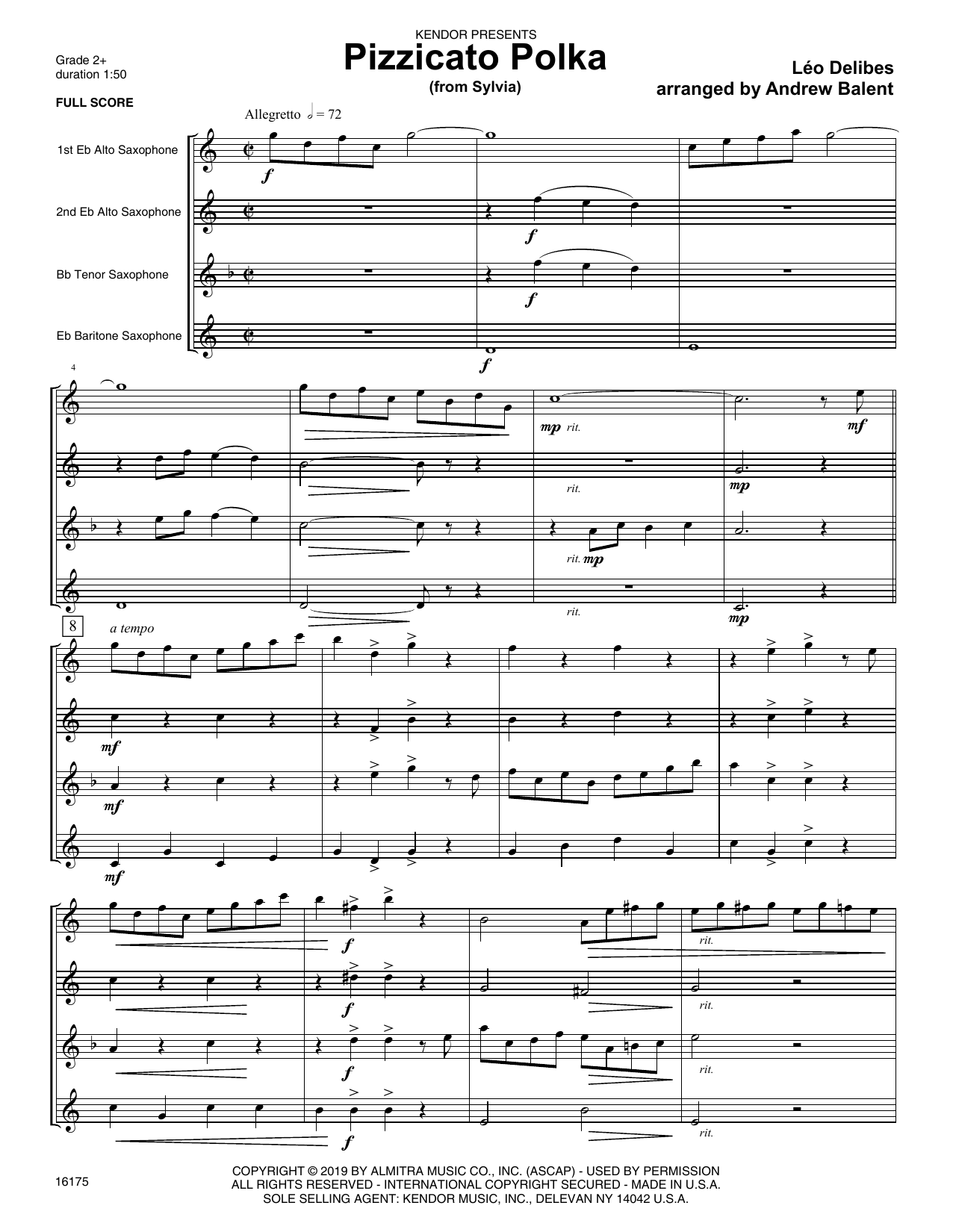 Andrew Balent Pizzicato Polka (from Sylvia) - Full Score sheet music notes and chords. Download Printable PDF.