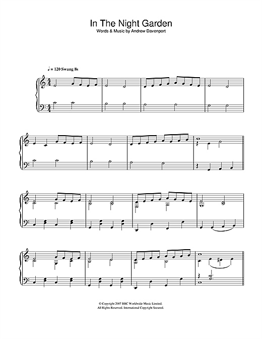 Andrew Davenport In The Night Garden sheet music notes and chords