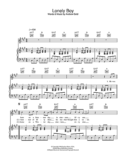 Andrew Gold Lonely Boy sheet music notes and chords. Download Printable PDF.