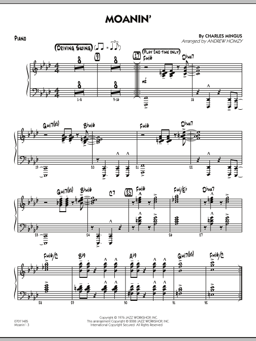Andrew Homzy Moanin Piano Sheet Music Pdf Notes Chords Jazz Score Jazz Ensemble Download Printable Sku 274557