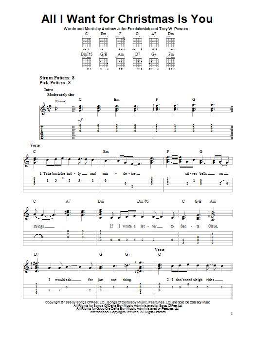 Andrew John Franichevich All I Want For Christmas Is You sheet music notes and chords. Download Printable PDF.