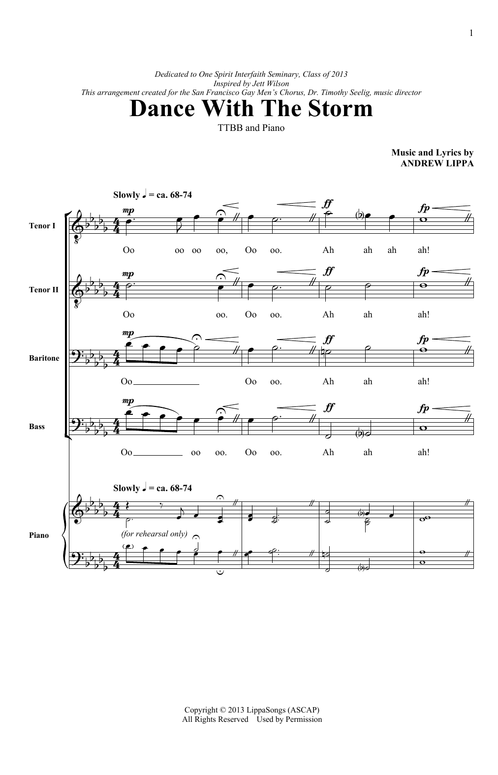 Andrew Lippa Dance With The Storm sheet music notes and chords. Download Printable PDF.