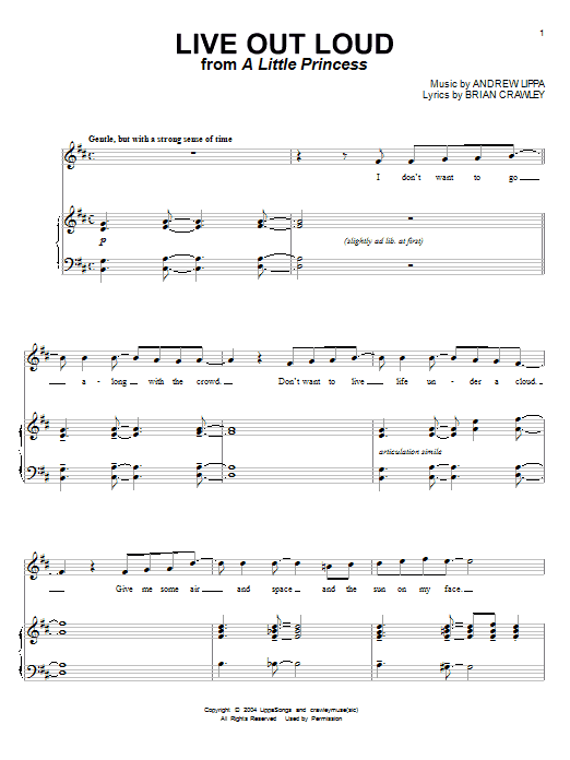 Andrew Lippa Live Out Loud sheet music notes and chords. Download Printable PDF.