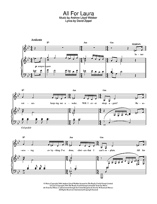 Andrew Lloyd Webber All For Laura (from The Woman In White) sheet music notes and chords. Download Printable PDF.