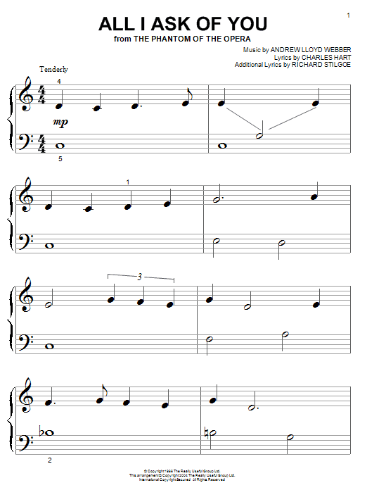 Andrew Lloyd Webber All I Ask Of You (from The Phantom Of The Opera) sheet music notes and chords. Download Printable PDF.