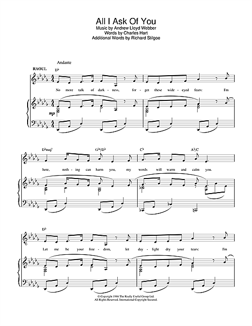 Andrew Lloyd Webber All I Ask Of You sheet music notes and chords