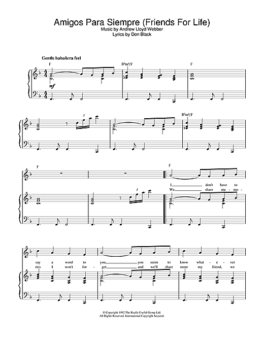 Andrew Lloyd Webber Amigos Para Siempre (Friends For Life) sheet music notes and chords. Download Printable PDF.