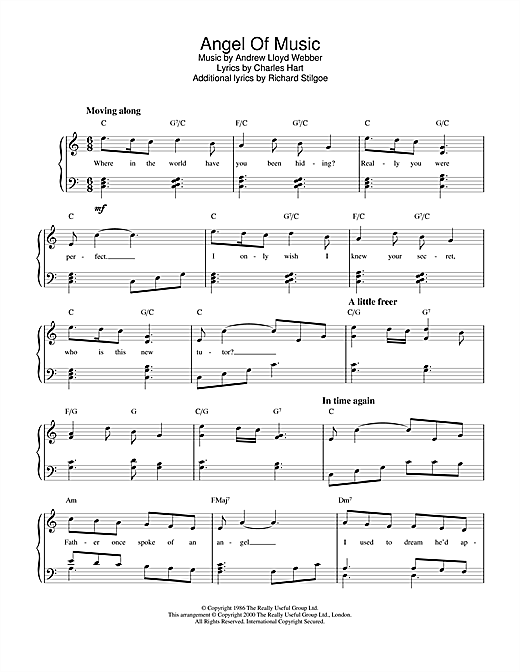 Andrew Lloyd Webber Angel Of Music (from The Phantom of The Opera) sheet music notes and chords