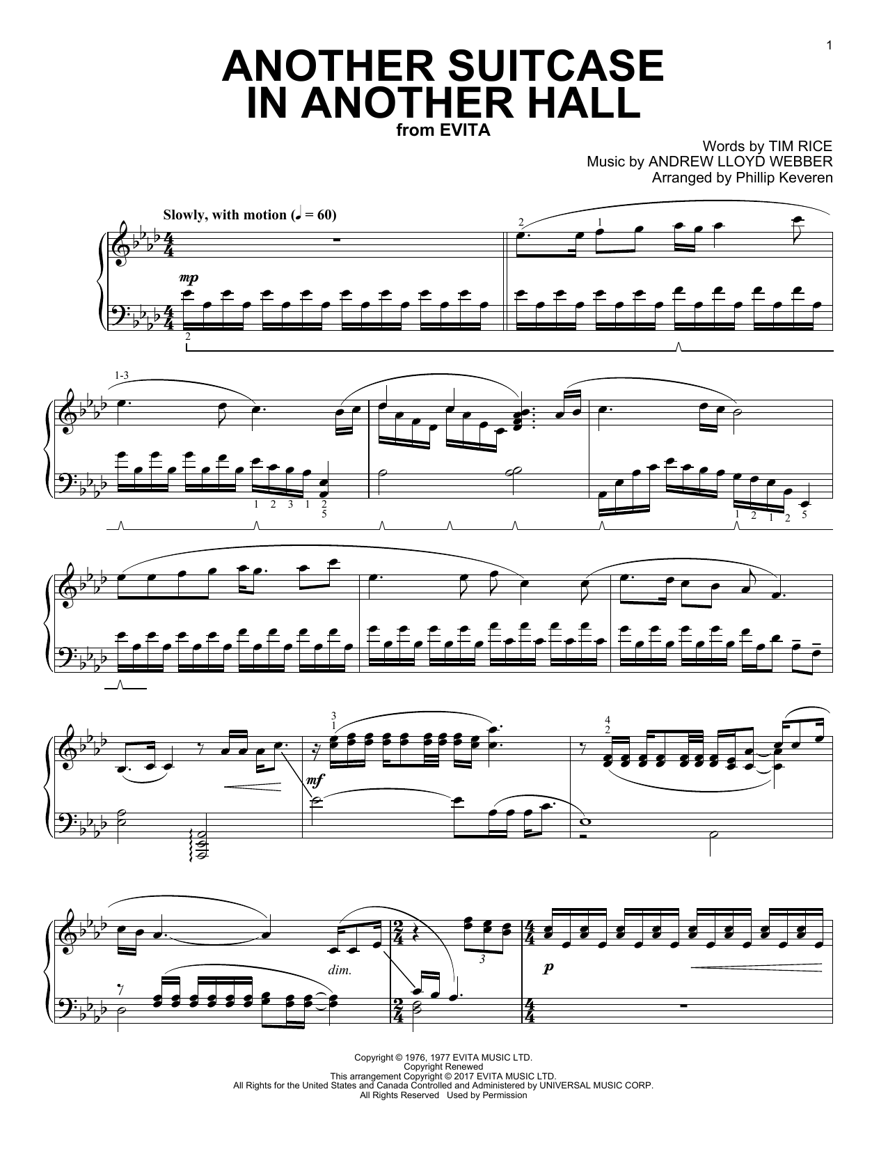 Andrew Lloyd Webber Another Suitcase In Another Hall (Phillip Keveren) sheet music notes and chords. Download Printable PDF.