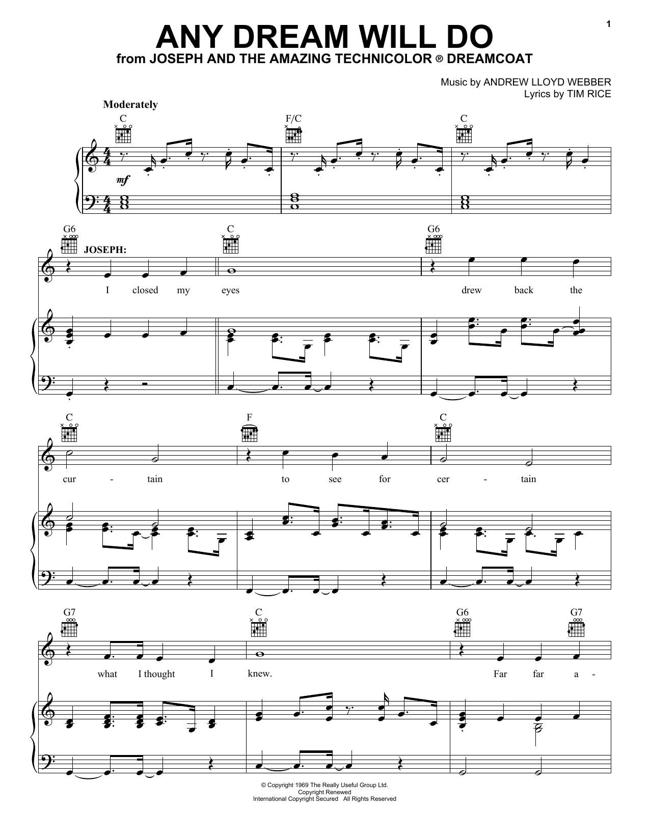 Andrew Lloyd Webber Any Dream Will Do sheet music notes and chords