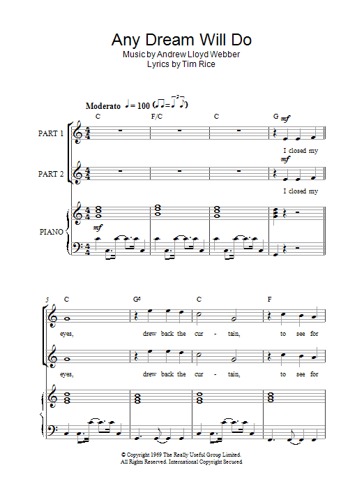 Andrew Lloyd Webber Any Dream Will Do (from Joseph And The Amazing Technicolor Dreamcoat) sheet music notes and chords. Download Printable PDF.