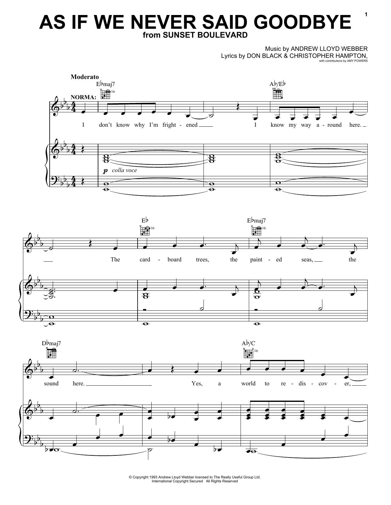 Andrew Lloyd Webber As If We Never Said Goodbye sheet music notes and chords. Download Printable PDF.