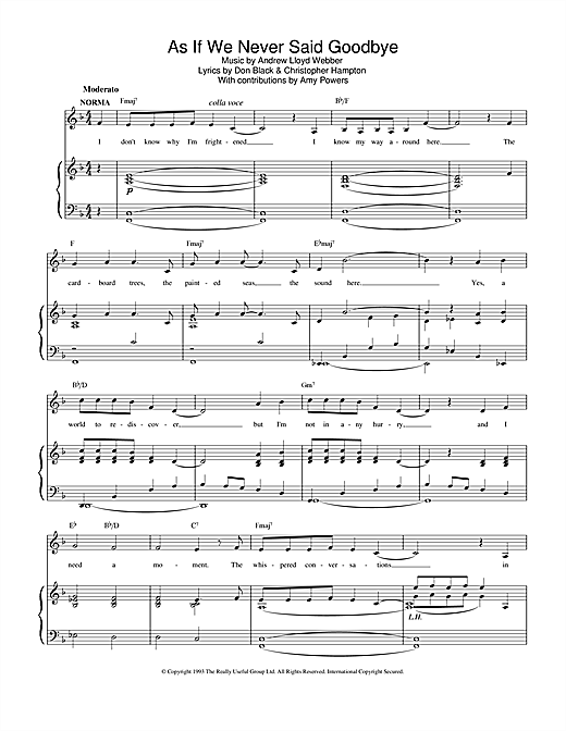 Andrew Lloyd Webber As If We Never Said Goodbye (from Sunset Boulevard) sheet music notes and chords