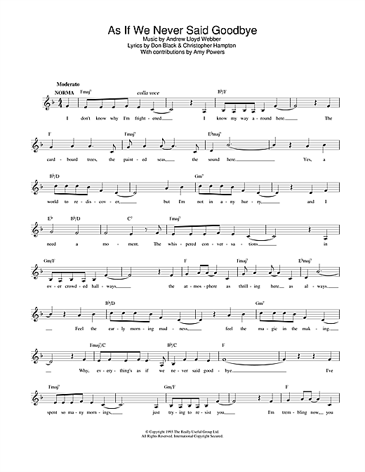 Andrew Lloyd Webber As If We Never Said Goodbye (from Sunset Boulevard) sheet music notes and chords. Download Printable PDF.