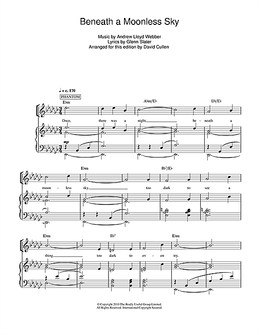 beneath a moonless sky sheet music pdf free