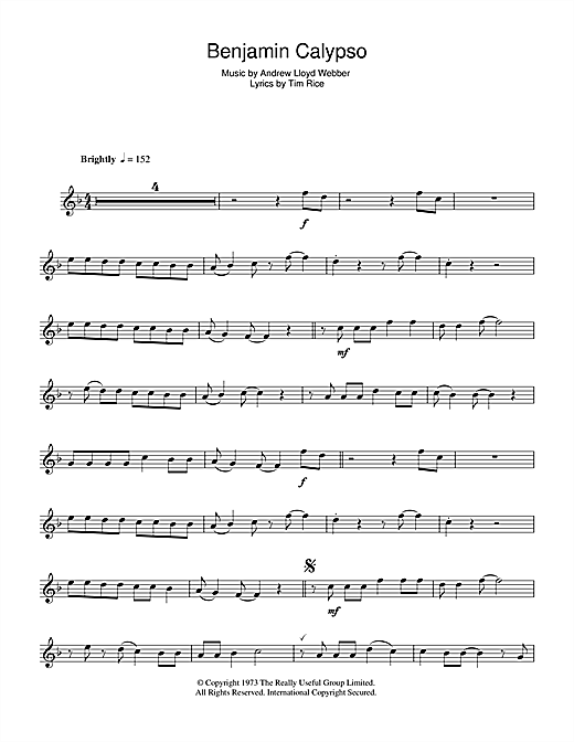 Andrew Lloyd Webber Benjamin Calypso (from Joseph And The Amazing Technicolor Dreamcoat) sheet music notes and chords. Download Printable PDF.