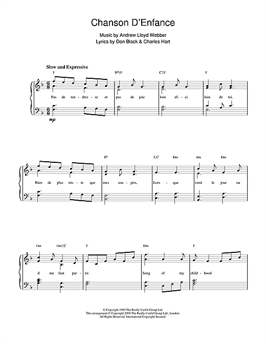 Andrew Lloyd Webber Chanson D'Enfance (from Aspects Of Love) sheet music notes and chords