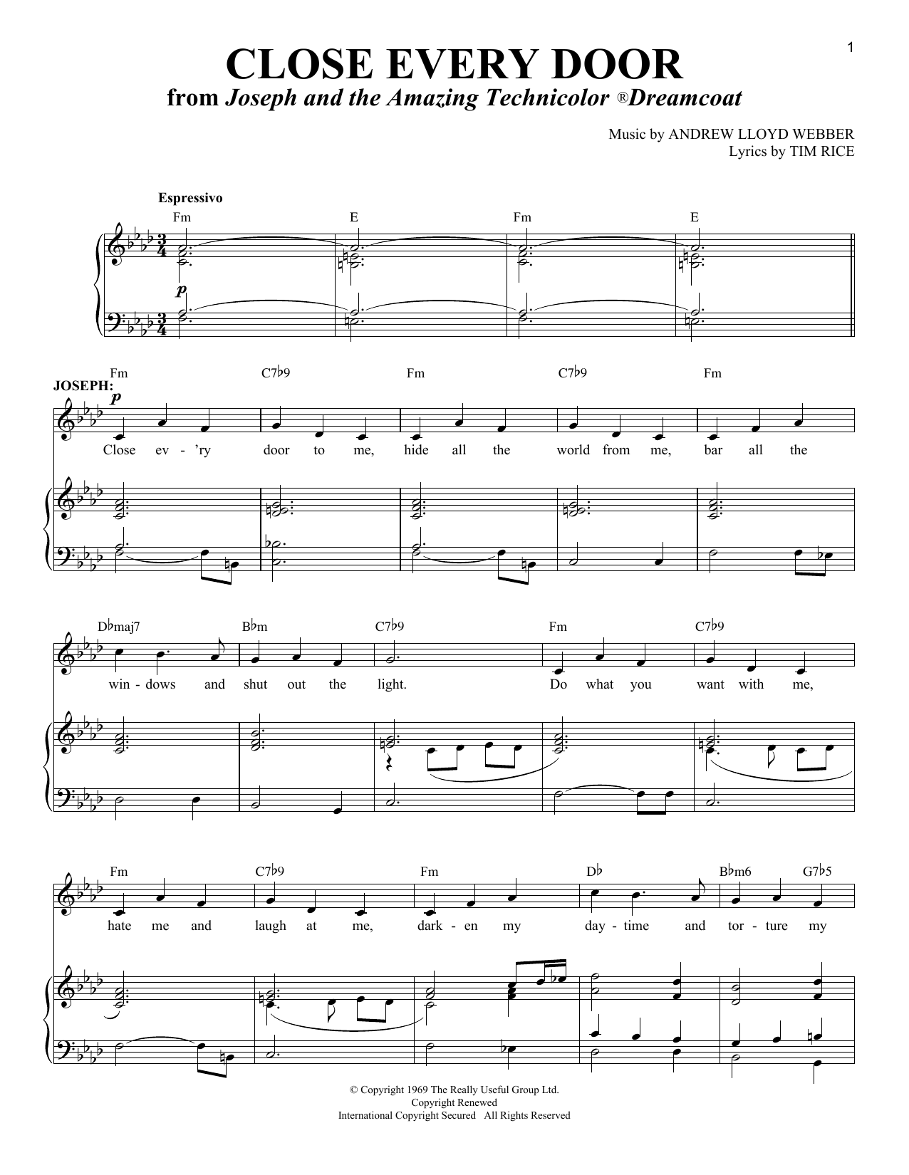 Andrew Lloyd Webber Close Every Door sheet music notes and chords. Download Printable PDF.