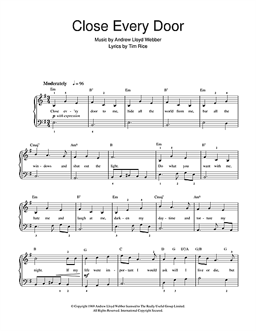 Andrew Lloyd Webber Close Every Door (from Joseph And The Amazing Technicolor Dreamcoat) sheet music notes and chords. Download Printable PDF.