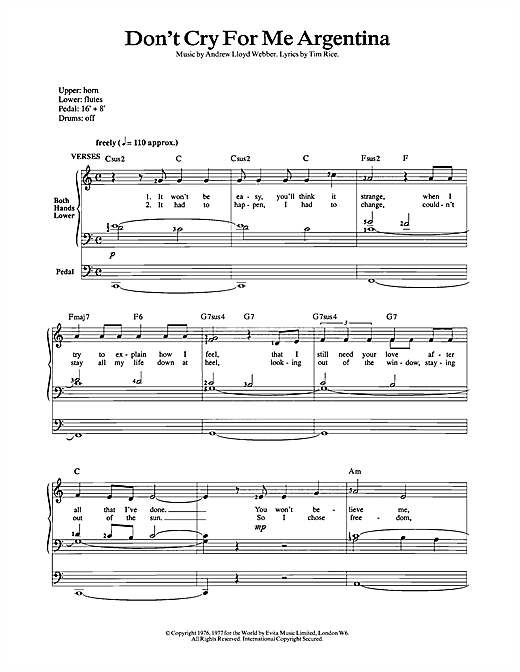 Andrew Lloyd Webber Don't Cry For Me Argentina (from Evita) sheet music notes and chords