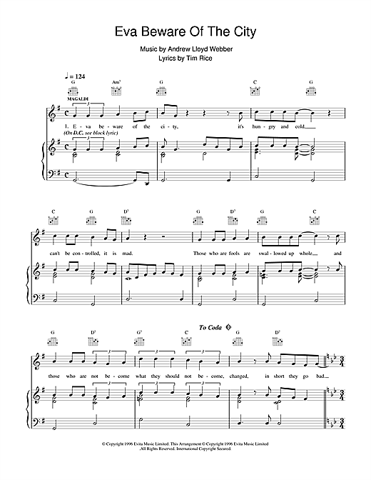 Andrew Lloyd Webber Eva Beware Of The City (from Evita) sheet music notes and chords