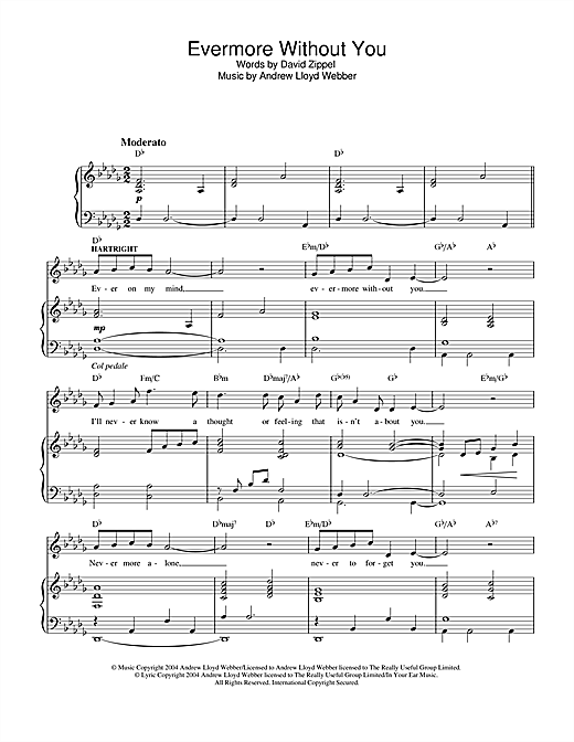 Andrew Lloyd Webber Evermore Without You (from The Woman In White) sheet music notes and chords. Download Printable PDF.