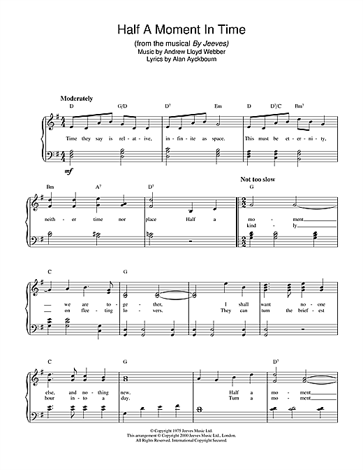 Andrew Lloyd Webber Half A Moment In Time sheet music notes and chords. Download Printable PDF.