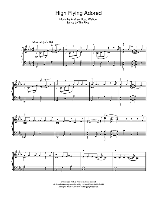 Andrew Lloyd Webber High Flying, Adored sheet music notes and chords. Download Printable PDF.