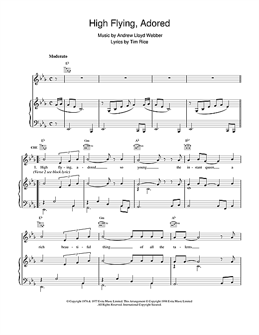 Andrew Lloyd Webber High Flying, Adored (from Evita) sheet music notes and chords
