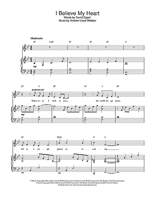 Andrew Lloyd Webber I Believe My Heart (from The Woman In White) sheet music notes and chords. Download Printable PDF.