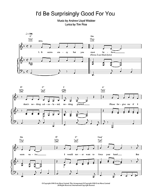 Andrew Lloyd Webber I'd Be Surprisingly Good For You (from Evita) sheet music notes and chords