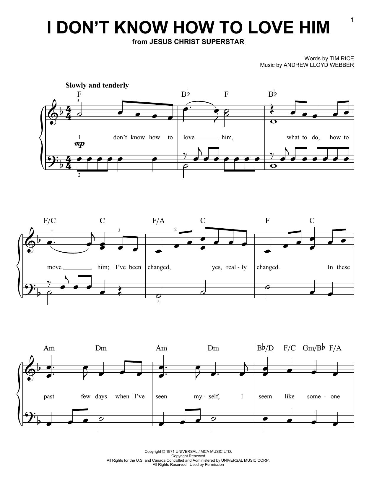 Andrew Lloyd Webber I Don't Know How To Love Him sheet music notes and chords. Download Printable PDF.