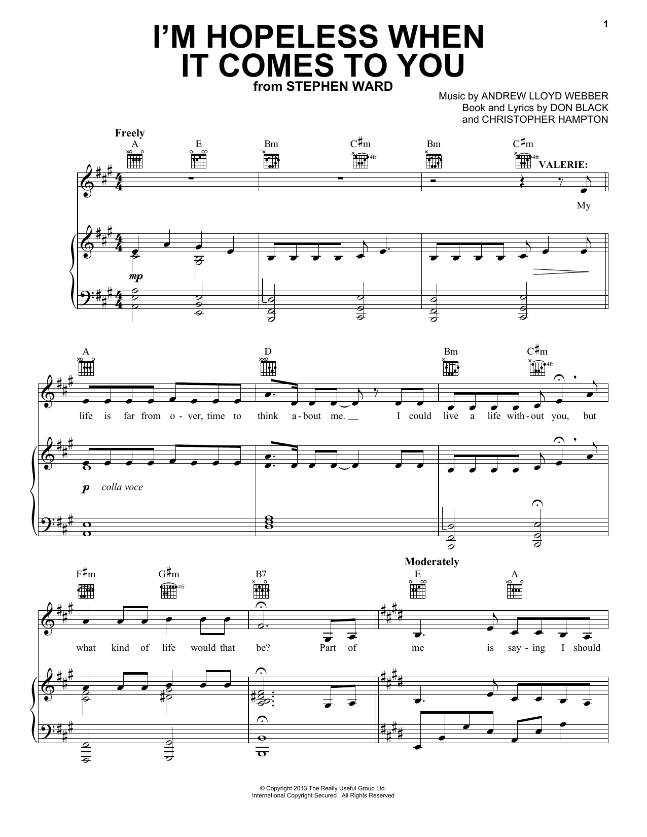 Andrew Lloyd Webber I'm Hopeless When It Comes To You sheet music notes and chords