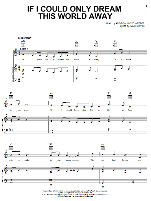 Andrew Lloyd Webber If I Could Only Dream This World Away (from The Woman In White) sheet music notes and chords. Download Printable PDF.