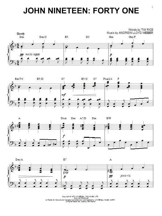 Andrew Lloyd Webber John Nineteen: Forty One sheet music notes and chords. Download Printable PDF.