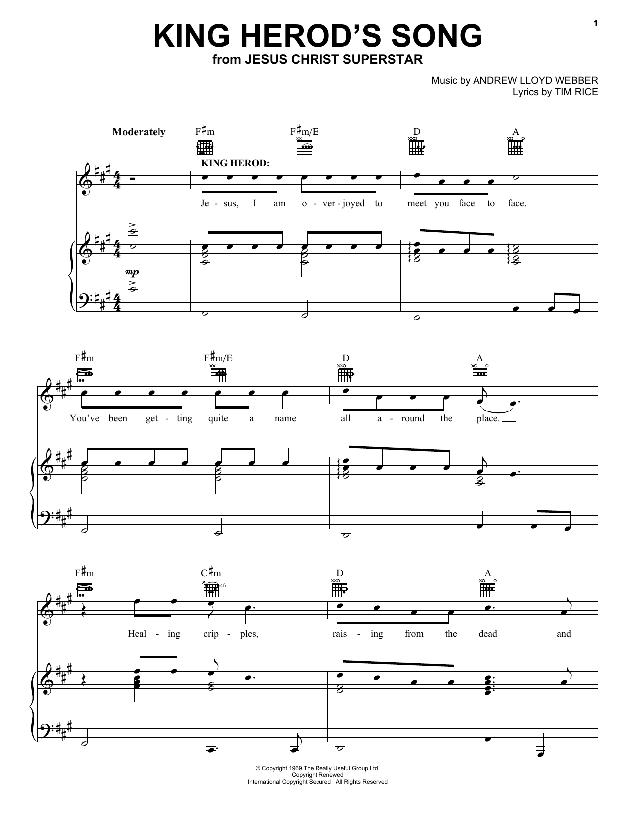 Andrew Lloyd Webber King Herod's Song sheet music notes and chords. Download Printable PDF.