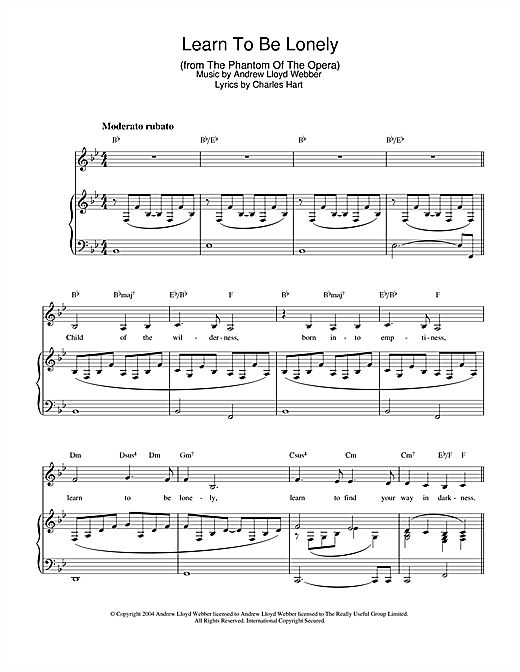 Andrew Lloyd Webber Learn To Be Lonely (from The Phantom Of The Opera) sheet music notes and chords