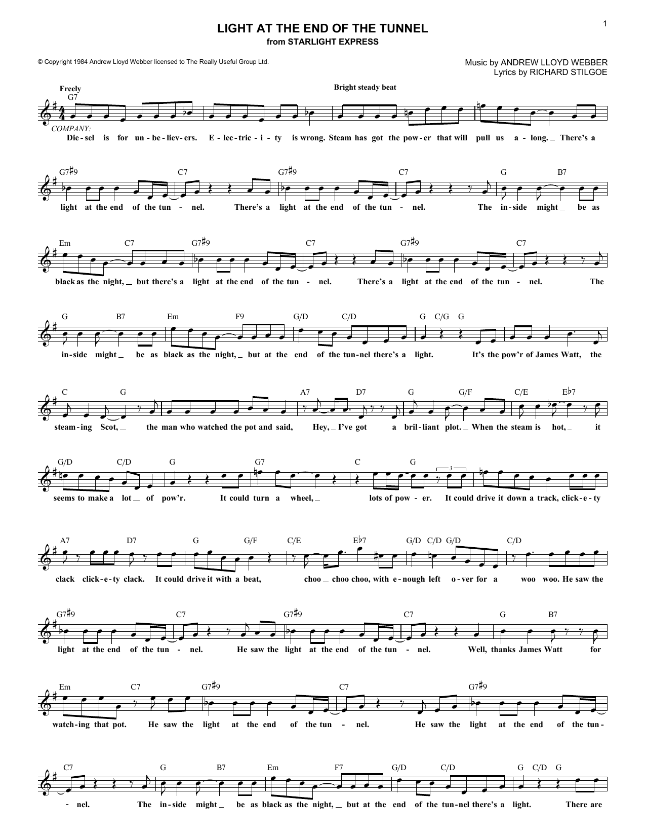 Andrew Lloyd Webber Light At The End Of The Tunnel sheet music notes and chords. Download Printable PDF.