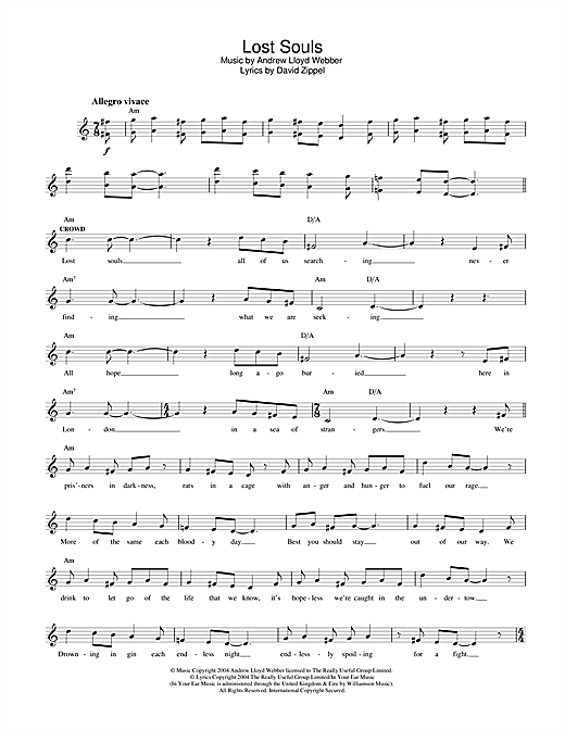Andrew Lloyd Webber Lost Souls (from The Woman In White) sheet music notes and chords. Download Printable PDF.