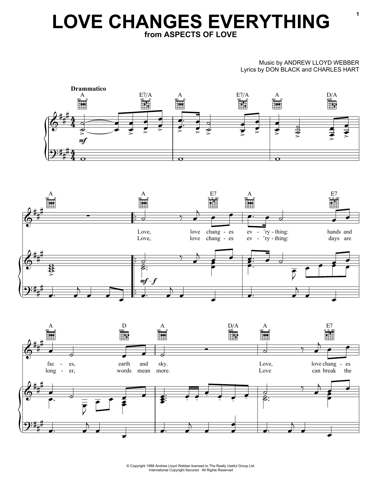 Andrew Lloyd Webber Love Changes Everything sheet music notes and chords. Download Printable PDF.