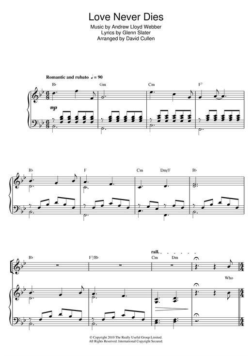 Andrew Lloyd Webber Love Never Dies sheet music notes and chords