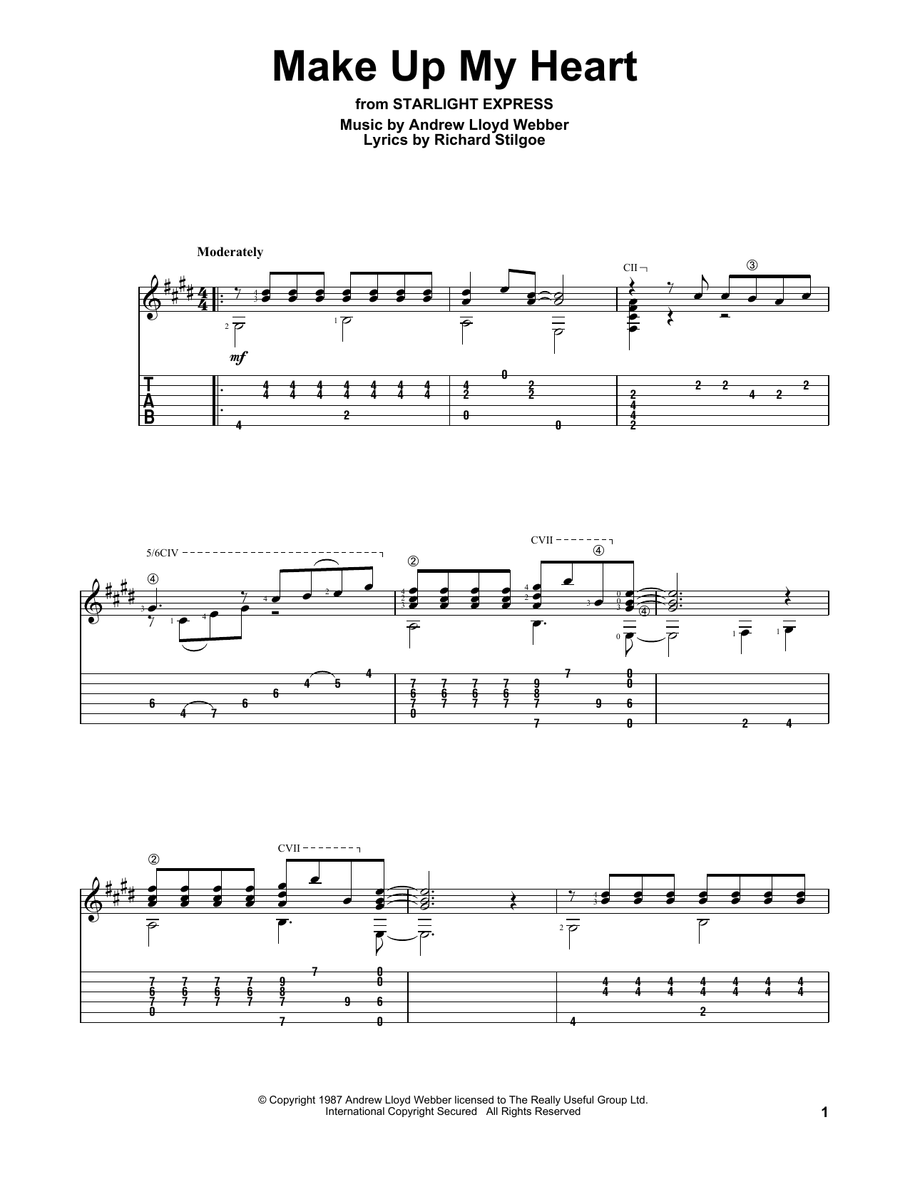 Andrew Lloyd Webber Make Up My Heart sheet music notes and chords. Download Printable PDF.