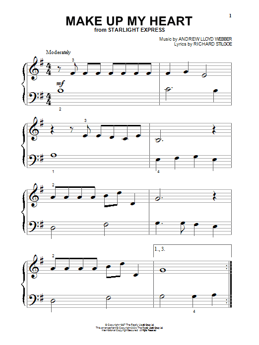 Andrew Lloyd Webber Make Up My Heart (from Starlight Express) sheet music notes and chords. Download Printable PDF.