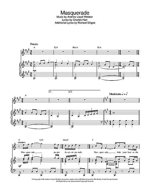 Andrew Lloyd Webber Masquerade (from The Phantom Of The Opera) sheet music notes and chords. Download Printable PDF.