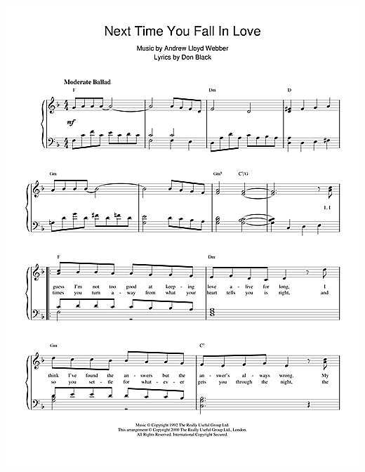 Andrew Lloyd Webber Next Time You Fall In Love (from Starlight Express) sheet music notes and chords