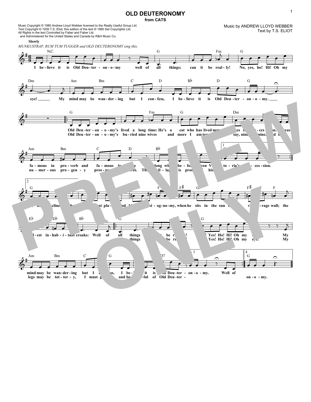 Andrew Lloyd Webber Old Deuteronomy (from Cats) sheet music notes and chords