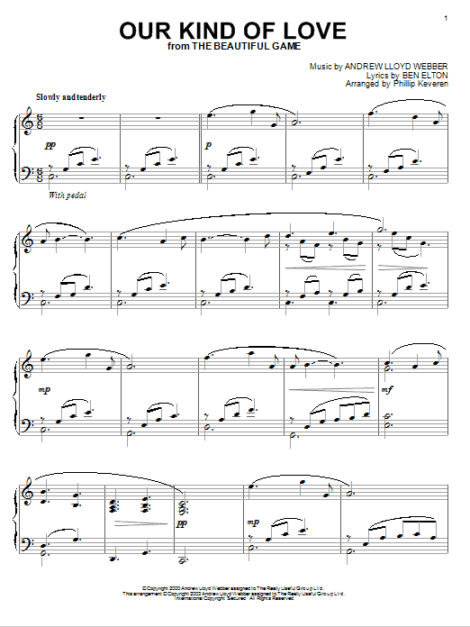 Andrew Lloyd Webber Our Kind Of Love (from The Beautiful Game) (arr. Phillip Keveren) sheet music notes and chords. Download Printable PDF.