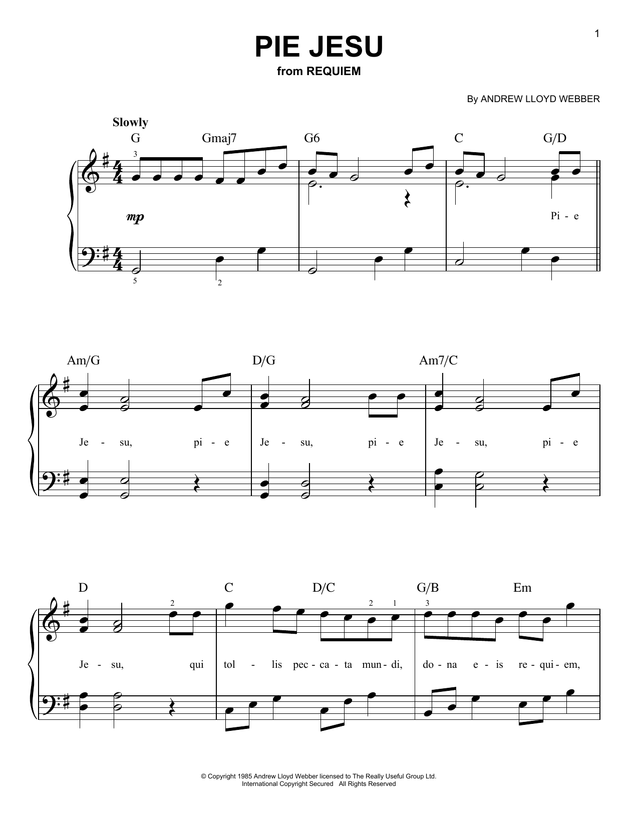 Andrew Lloyd Webber Pie Jesu (from Requiem) sheet music notes and chords. Download Printable PDF.